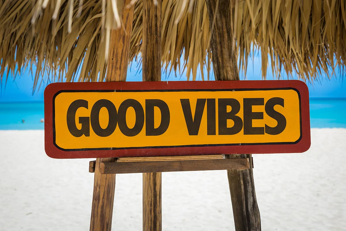 Sign saying 'Good Vibes'