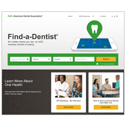 The Find-a-Dentist webpage on the ADA website