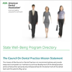 Front page of the directory with three people walking
