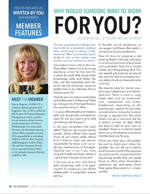 Preview of a AADOM article submitted by Sherry Regiani, SHRM-CP