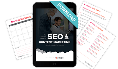 A preview of Roadside's eBook: The Complete Guide to SEO & Content Marketing including multiple downloads