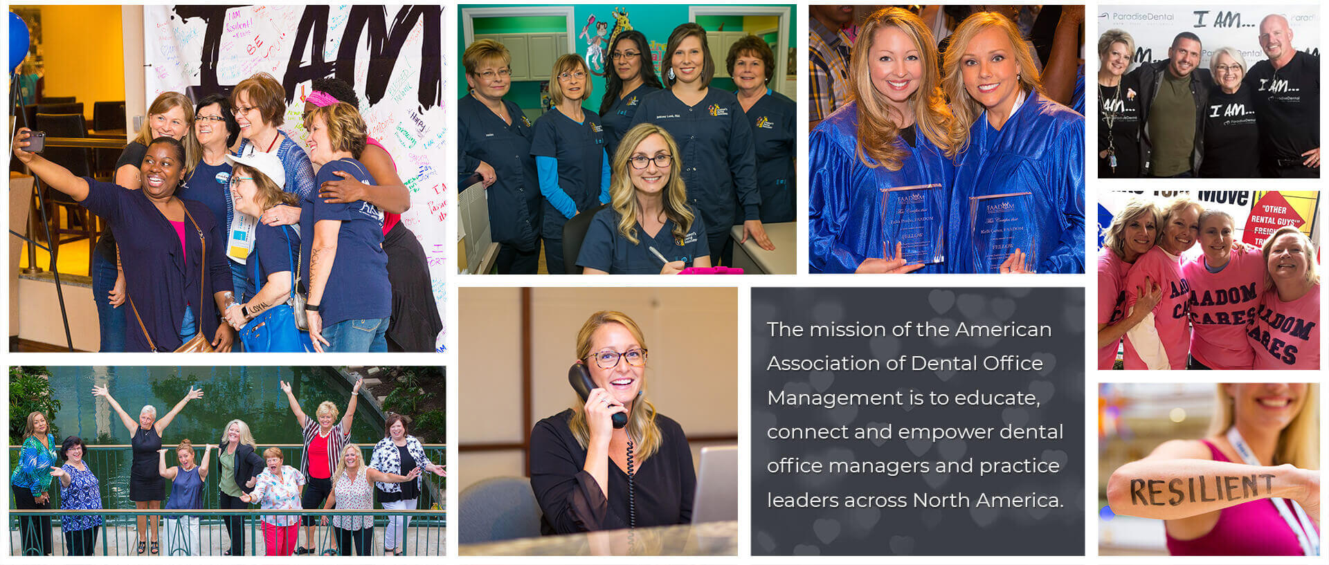 AADOM member collage with their mission statement.