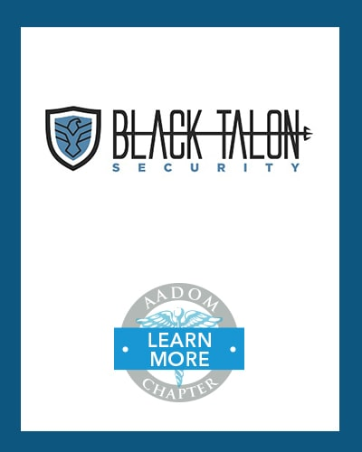 Black Talon Security logo with AADOM Chapter logo saying