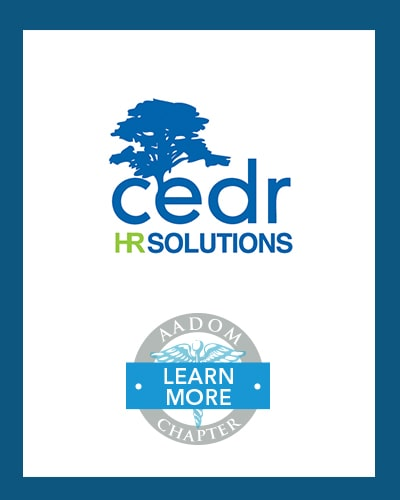 CEDR HR Solutions logo with AADOM Chapter logo saying