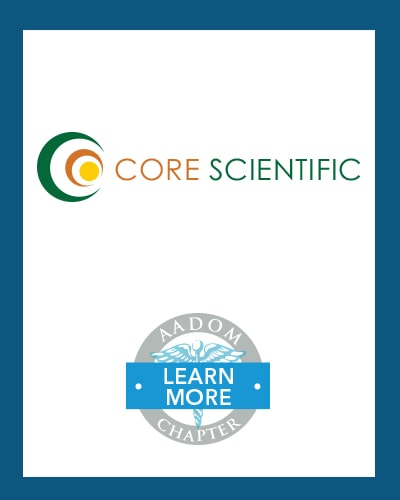 Core Scientific logo with AADOM Chapter logo saying