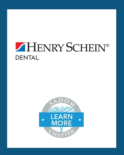 Henry Schein Dental logo with AADOM Chapter logo saying