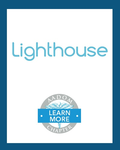 Lighthouse 360 logo with AADOM Chapter logo saying