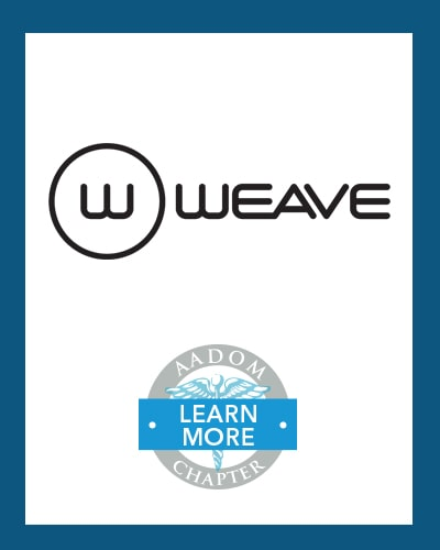 Weave logo with AADOM Chapter logo saying