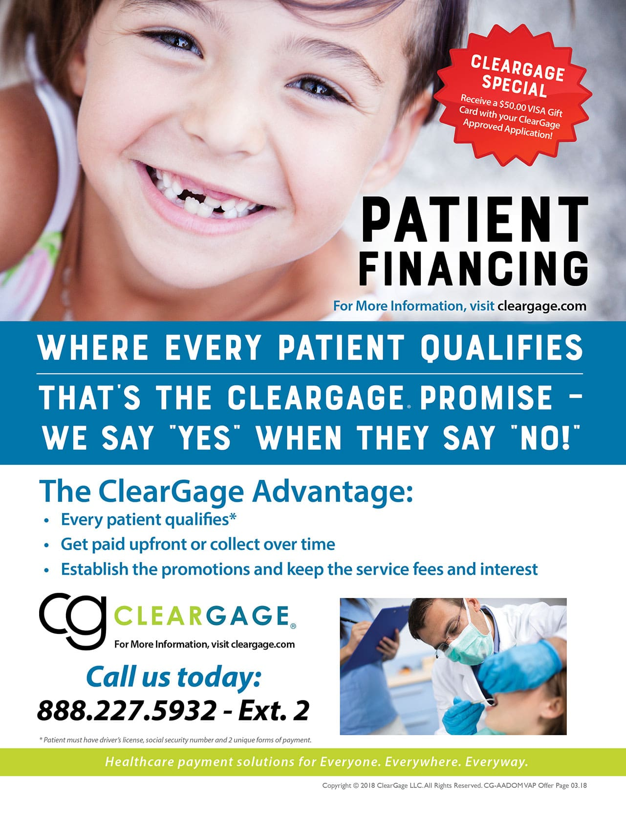 Cleargage special - just for being an AADOM member. Receive a $50 Visa gift card with your approved contract
