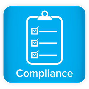 Clipboard icon with the word compliance