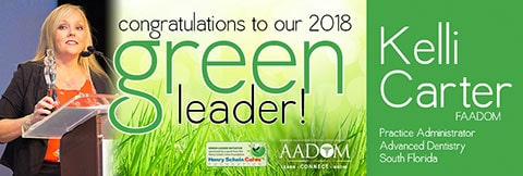 Ad announcing Kelli Carter as the Green Leader Winner 2018