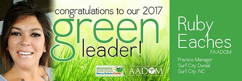 Ad announcing Ruby Eaches as the Green Leader Winner 2017