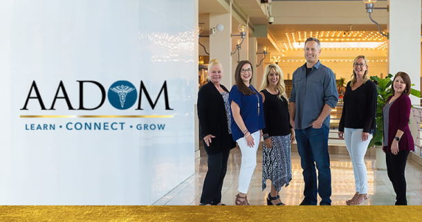 AADOM logo with actual AADOM members who are dental office managers