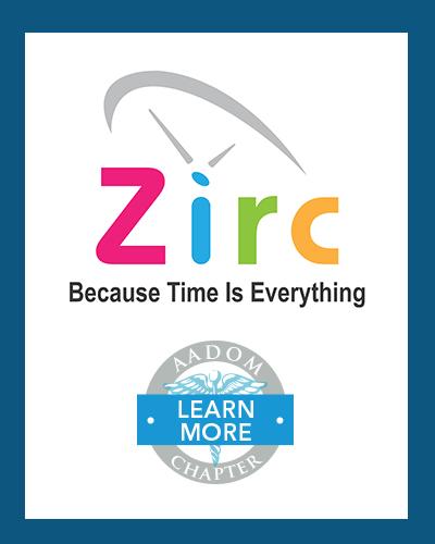 Zirc logo with AADOM Chapter logo saying