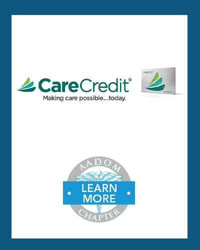 CareCredit logo with AADOM Chapter logo saying