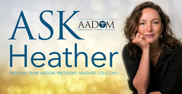 "A picture of AADOM President Heather Colicchio in a black top with ring, earrings, and necklace with the text ""Ask Heather wisdom from AADOM President Heather Colicchio"""