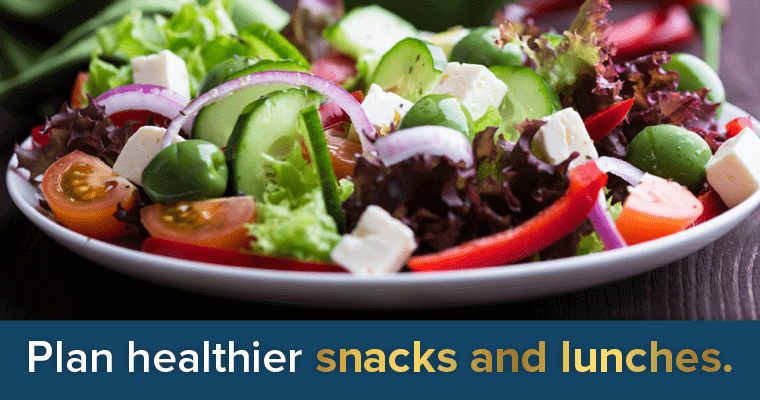 Sample New Year's Resolutions: Plan healthier snacks and lunches.