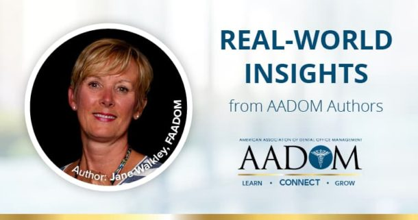 """Jane Walkley smiling with text """"Real-world insights from AADOM authors"""" and the AADOM logo"""