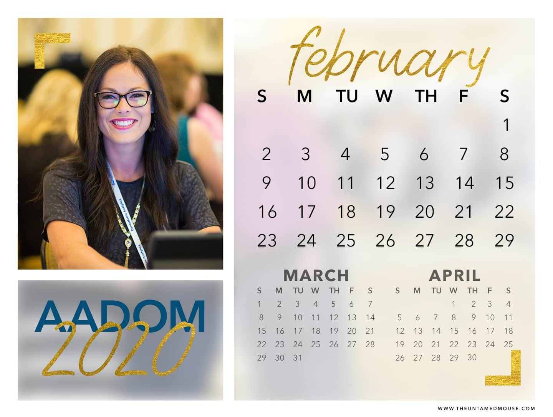 AADOM February 2020 Calendar