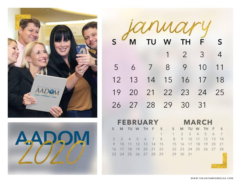 AADOM January 2020 Calendar