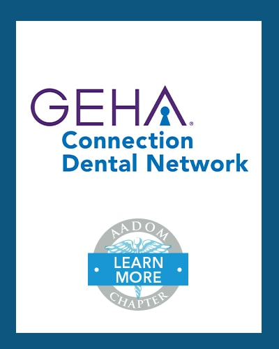 GEHA Connection Dental Network logo with AADOM Chapter logo saying