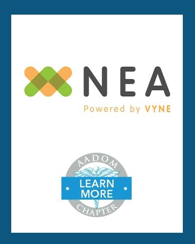 NEA logo with AADOM Chapter logo saying