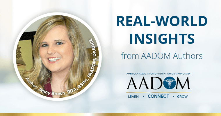 "Jenny Brown with text ""Real-world insights from AADOM Authors"" with the AADOM logo"