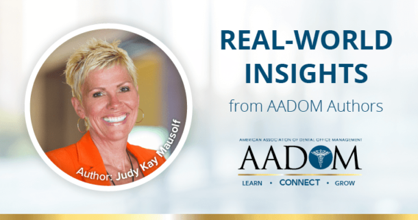 "Judy Kay Mausolf in an orange blazer and black top with text, ""Real-world insights from AADOM authors"" with the AADOM logo"