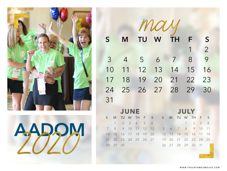 May 2020 AADOM Calendar