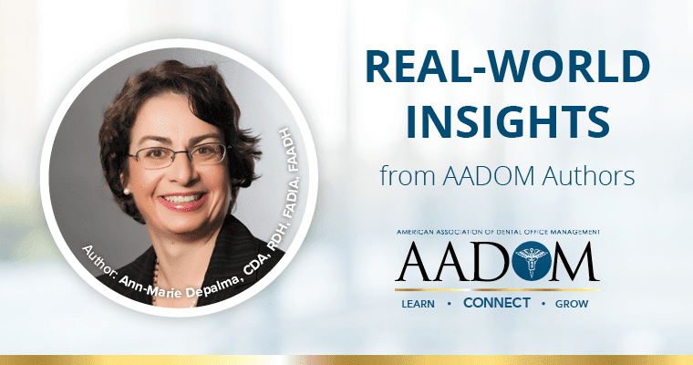 """Ann-Marie Depalma in black blazer and glasses, with text """"real-world insights from AADOM authors"""""""
