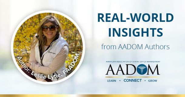 "Leslie Lytle with text ""Real-world insights from AADOM authors"""