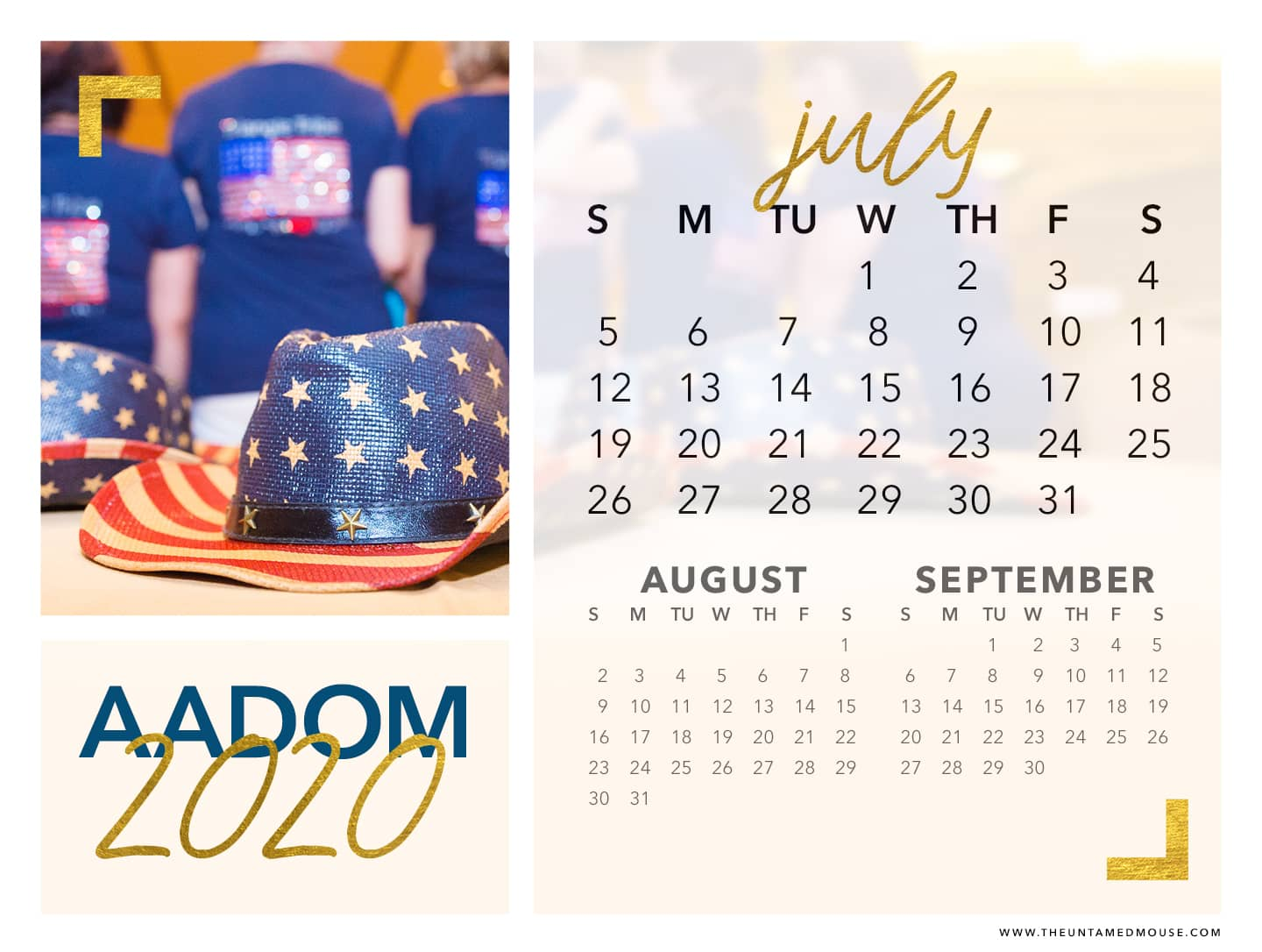 July calendar from AADOM - Read our blog post on why I bleed red, white and blue