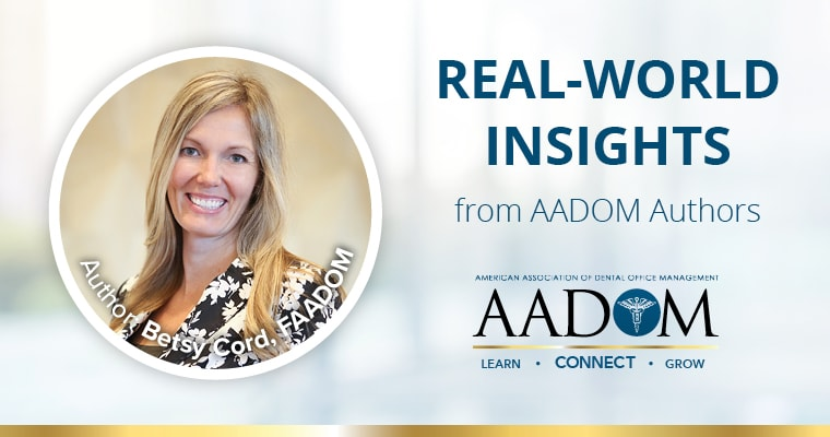 "Betsy Cord with text ""real-world insights from AADOM authors"""