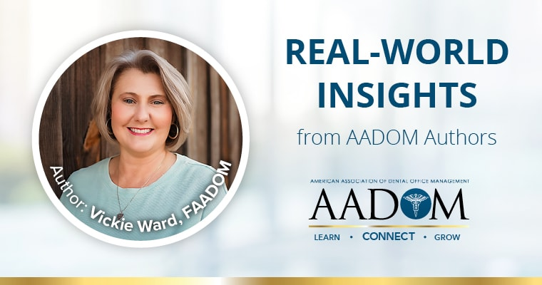 "Vickie Ward, FAADOM with text, ""Real-world insights from AADOM authors"""