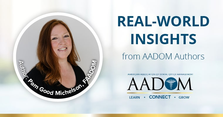 """Pam Good Michelson, FAADOM with text, """"real-world insights from AADOM authors"""""""