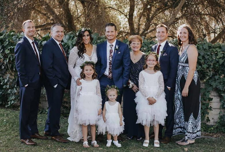 Group portrait of wedding of Bryan and Jen, who are part of the author's family.