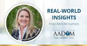 """Kristie Williams with text, """"real-world insights from AADOM authors"""""""