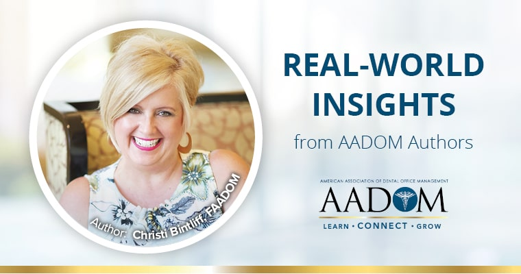 "Christi Bintliff with text, ""Real-world insights from AADOM authors"""