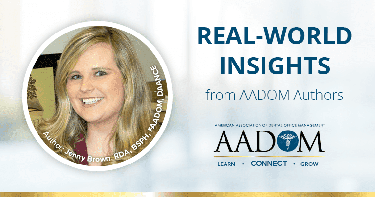 """Jenny Brown with text """"Real-world insights from AADOM Authors"""" with the AADOM logo"""