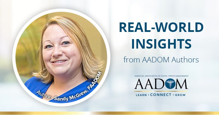 "Sandy McGrew, FAADOM with text, ""Real-world insights from AADOM Authors"""