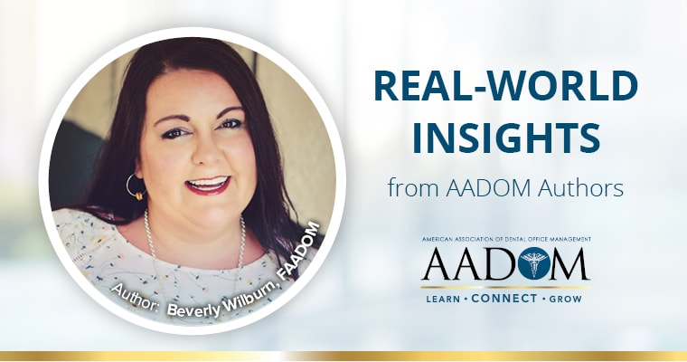 "Beverly Wilburn with text, ""Real-world insights from AADOM Authors"""