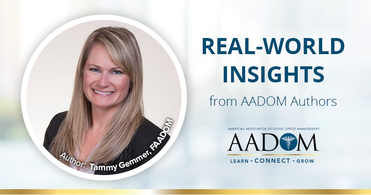 "Tammy Gemmer, FAADOM with text, ""Real-world insights from AADOM authors"""