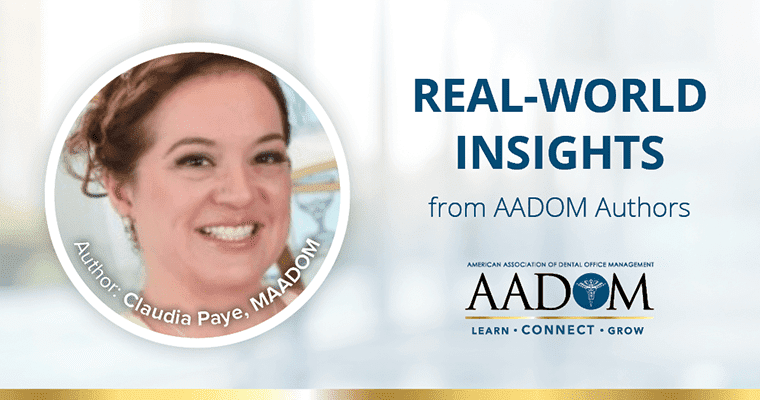 """Claudia Paye, MAADOM with text, """"Real-world insights from AADOM authors"""""""