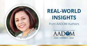 "Claudia LaSmith, MAADOM with text, ""Real-world insights from AADOM authors"""