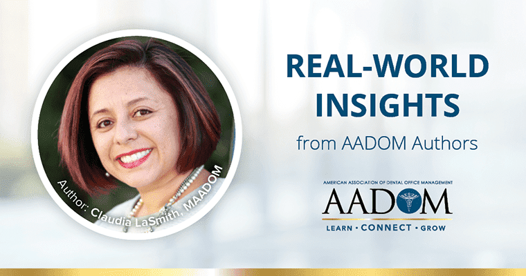 "Claudia LaSmith, MAADOM with text, ""Real-world insights from AADOM authors"""