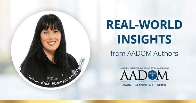 "Kristi Abrahamsen with text, ""Real-world insights from AADOM authors"""