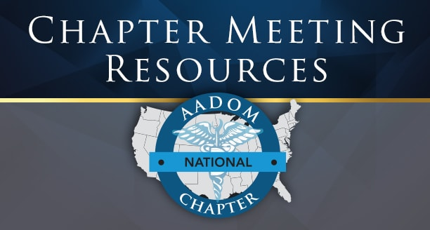 AADOM National Chapter logo over a black and white background of AADOM members