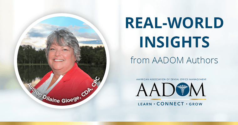 "Dilaine Gloege with text, ""Real-world insights from AADOM authors"""
