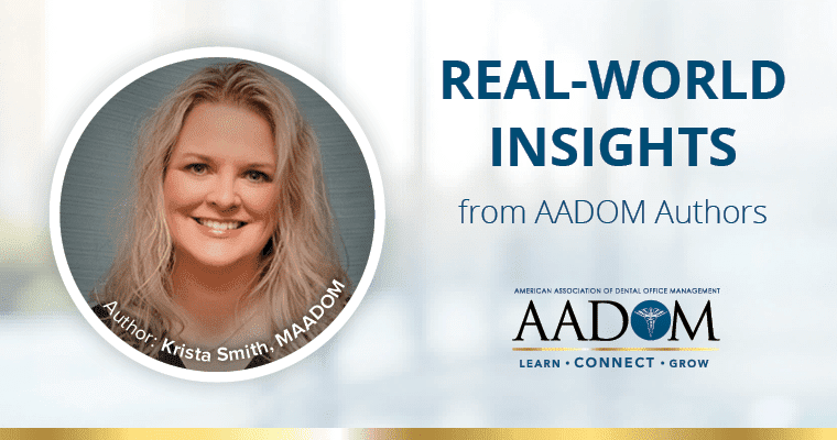 "Krista Smith, MAADOM with text, ""Real-world insights from AADOM authors"""