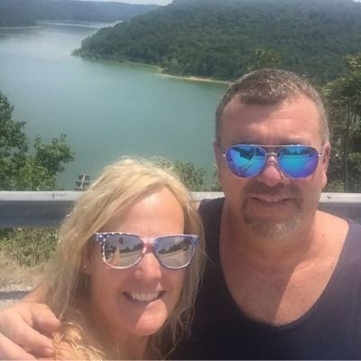 Tina and Mark Webster with a scenic background